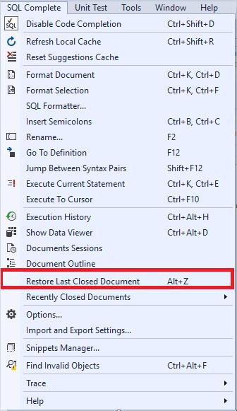 Restoring Last Closed Document