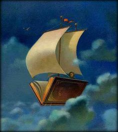 Image: old-fashioned clipper ship with body of ship replaced by an open book, floating through a dreamy, cloudy sky