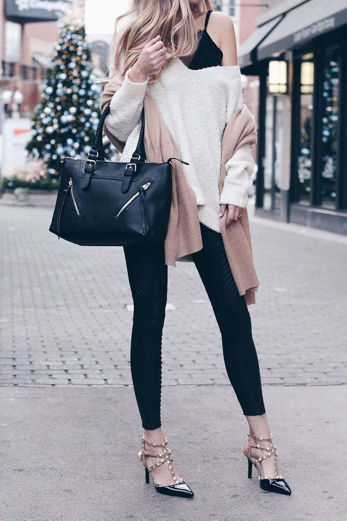 Pair leggings with a pair of heels to make a great look for work