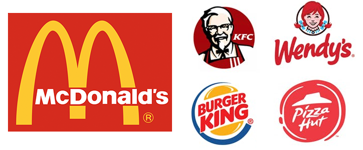 red fast food logos that suggest hunger.