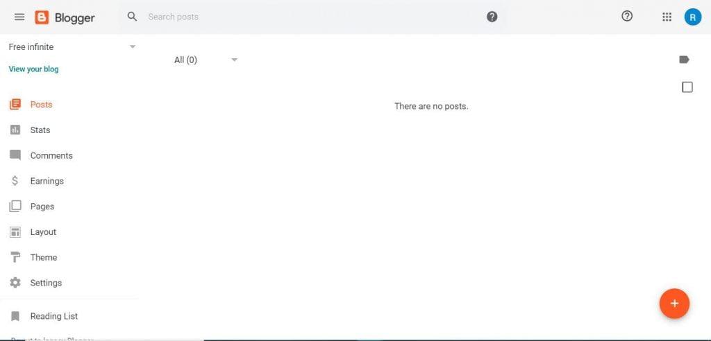 Blogger.com interface