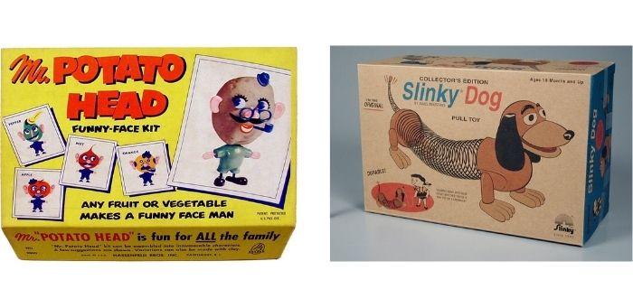 L'immagine mostra i giocattoli originali di Mr.Potato Head e Slinky Dog che c'erano prima della loro comparsa nel cartone Toy Story. Lo scopo è far capire che sono così vintage che esistono da sempre, ma che son diventati famosi grazie al product placement. Fonte: Marketing Ignorante