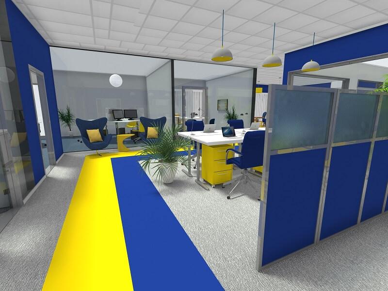 thiết kế văn phòng làm việc đủ không gian