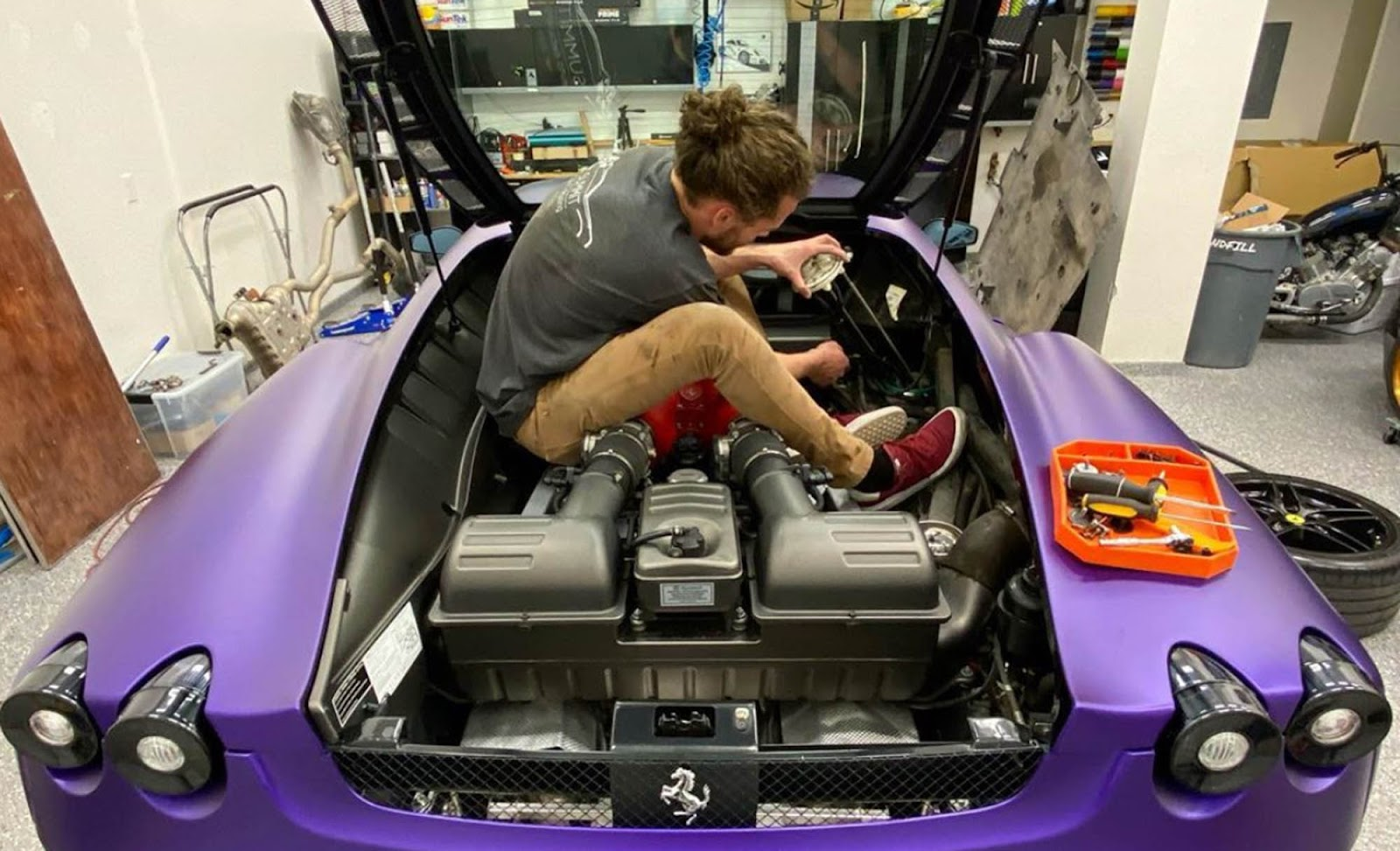 Clayton gets down and dirty installing the Fabspeed exhaust on his F430