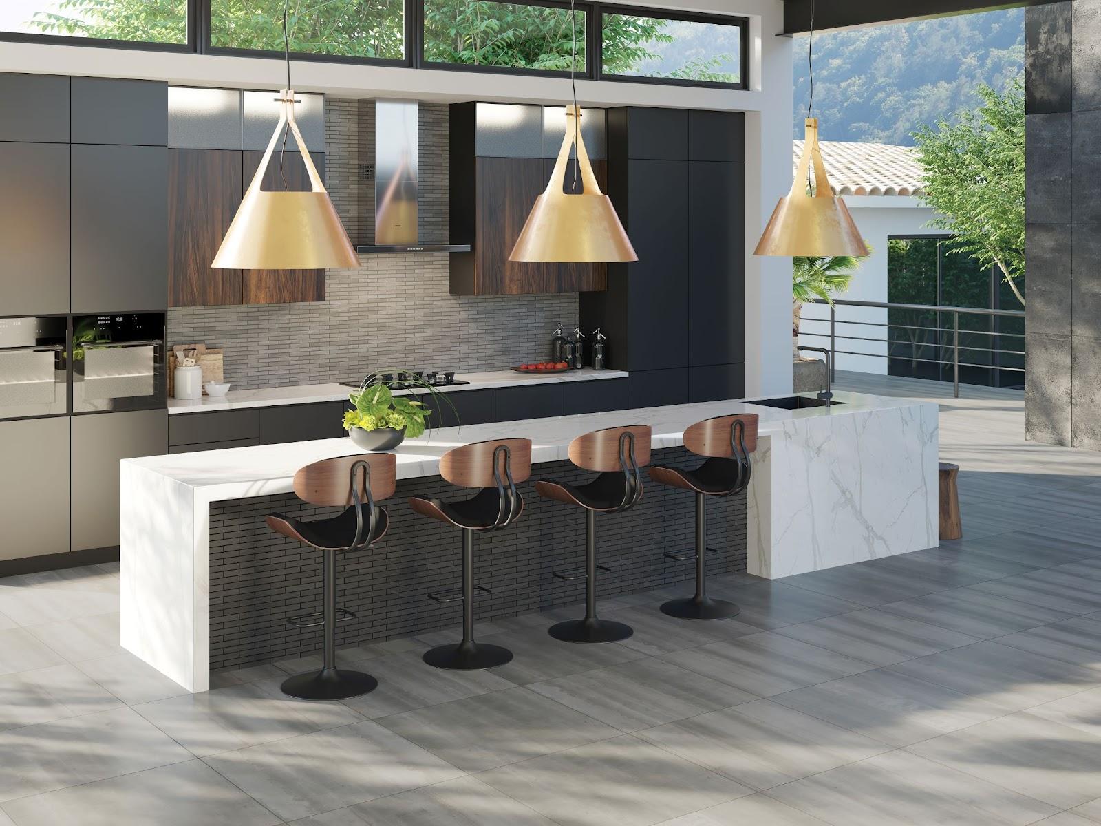 Indoor-outdoor kitchen with ceramic tile