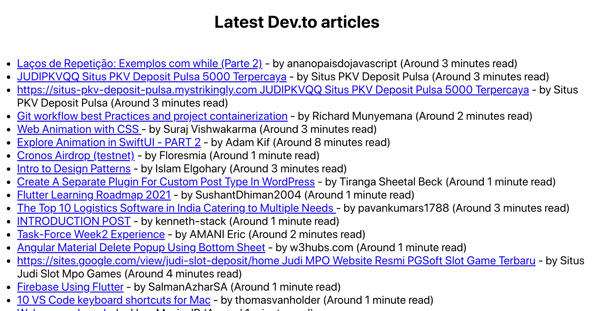 Screenshot of latest Dev.to articles with reading times noted next to each one