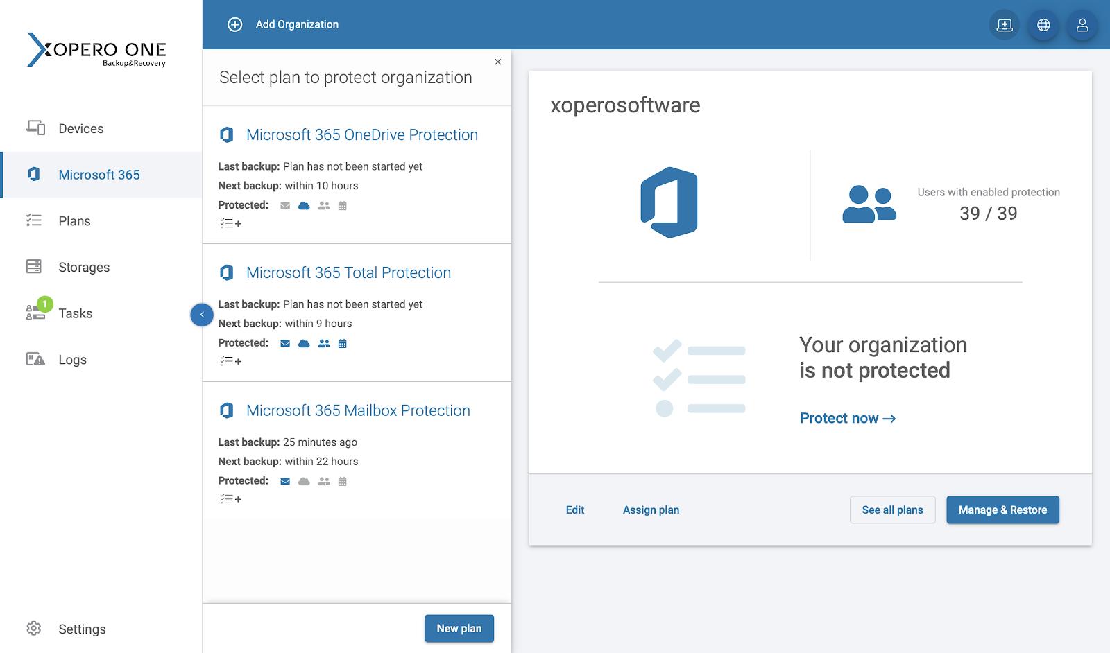 Adding a predefined Microsoft 365 backup plan