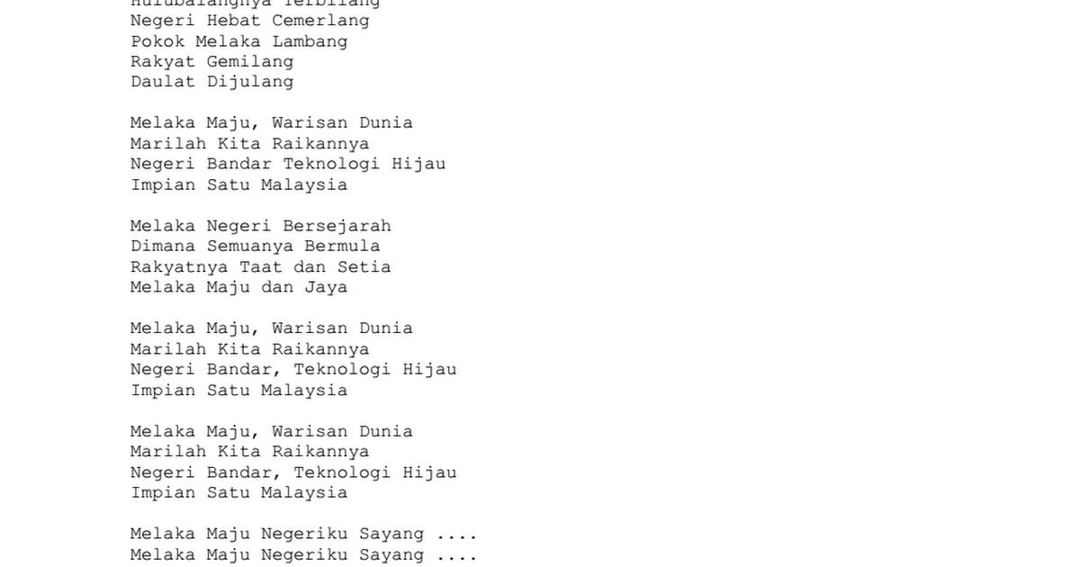 Lirik Lagu Melaka Maju Negeriku Sayang Docx Google Drive