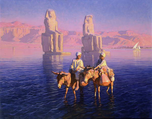 Image of The Colossi of Memnon, West Bank of Thebes, Egypt, Styka, Adam (b.1890) / Polish, Private Collection, (C20th), Photo © Berko Fine Paintings, Knokke-Heist, Belgium / Bridgeman Images