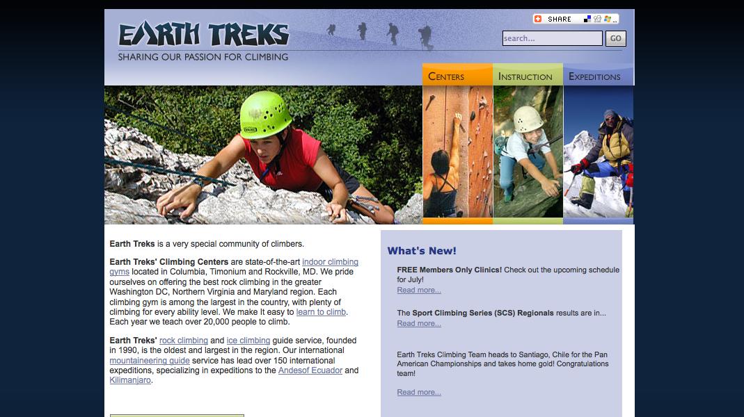 screenshot of earth trek's website