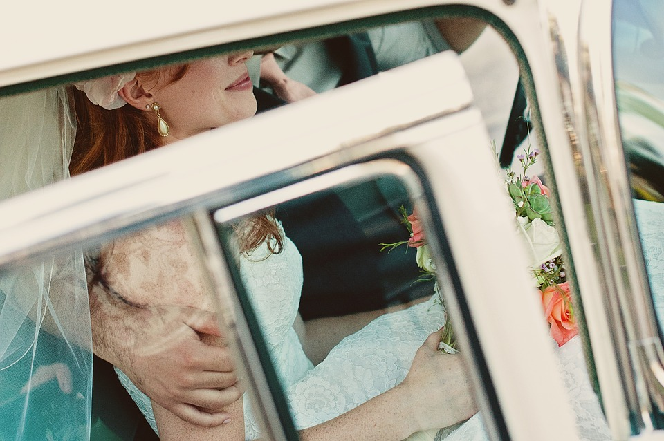 Bride, Car, Exiting, Touch, Marriage, Newlywed
