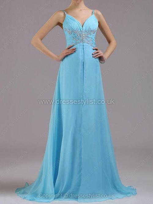 Chiffon Spaghetti Straps A-line Sweep Train Rhinestone Prom Dresses #DLT02014380