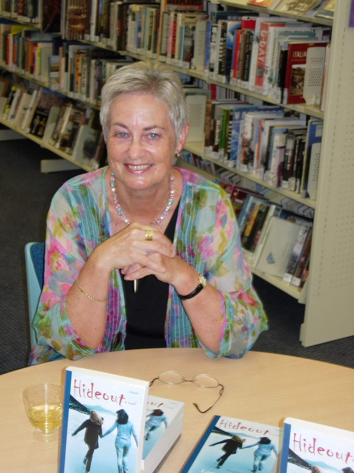 Lorraine Orman at launch of Hideout.JPG