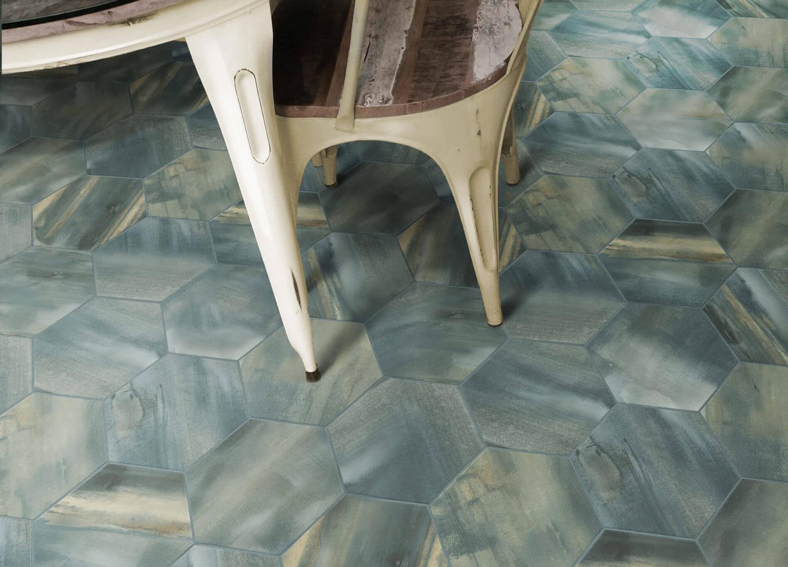 Variegated hexagon tile flooring