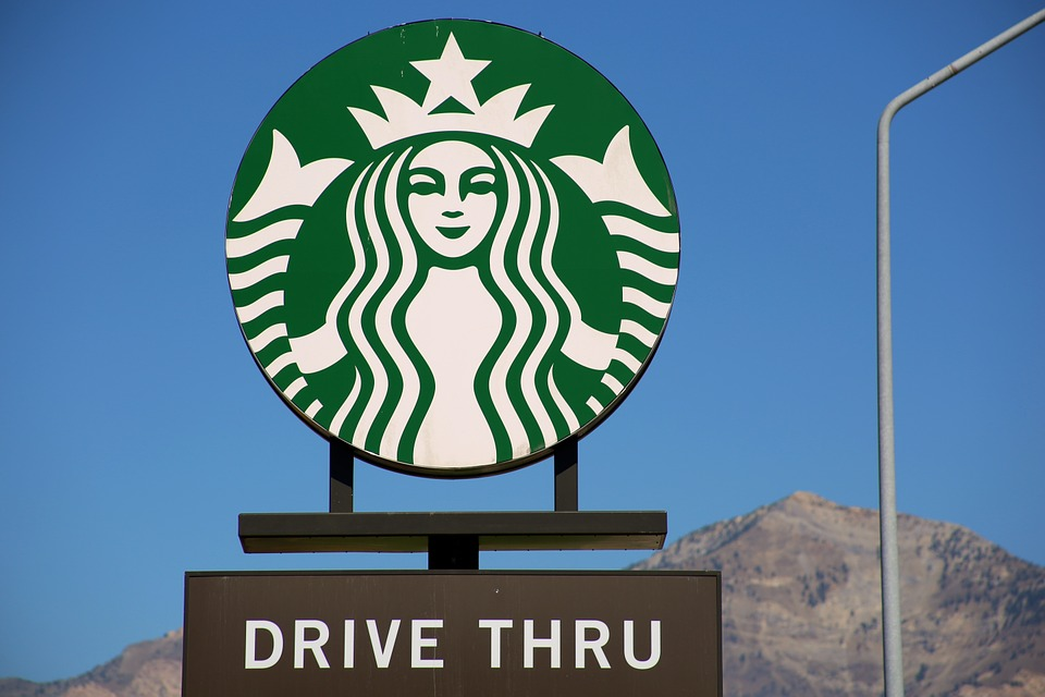 Starbucks, Coffee, Green, White, Logo, Drive Thru