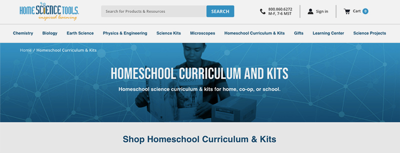 BigCommerce SEO:  A view of Home Science Tools main eCommerce pages.