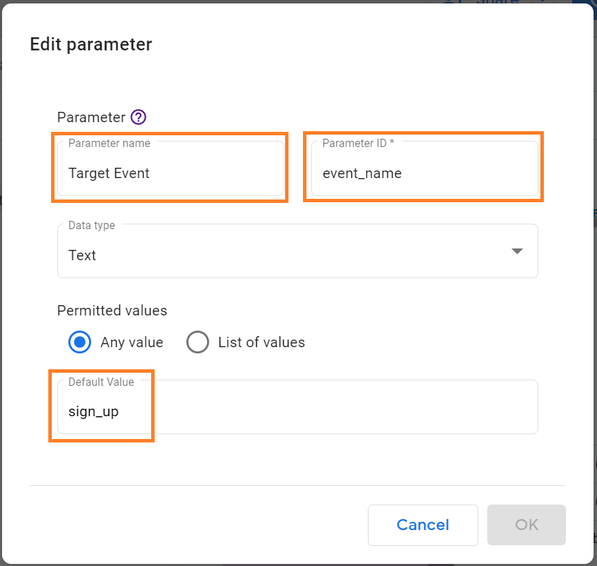 how to add user-friendly name to parameter ID in Google Data Studio
