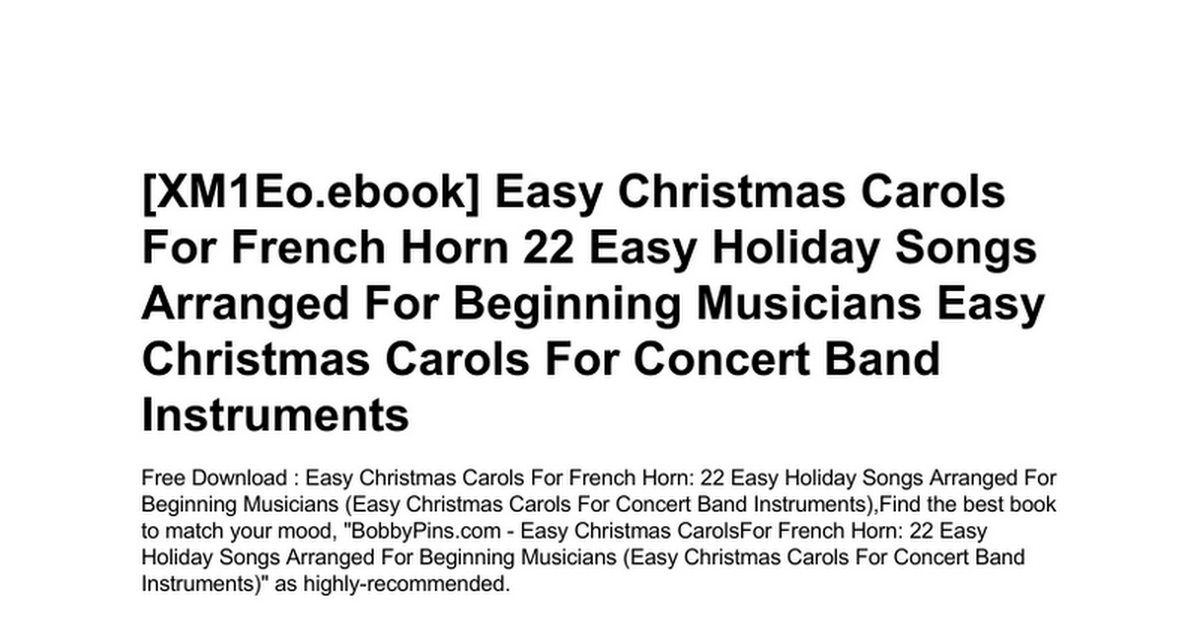 easy-christmas-carols-for-french-horn-22-easy-holiday-songs-arranged