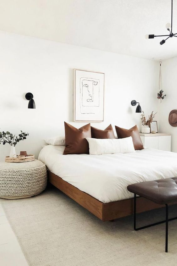 White Bedroom Ideas with a Touch of Leather