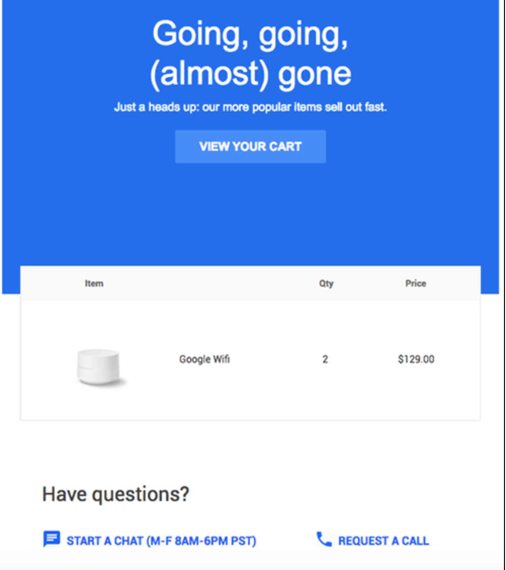 An email that Google Store automatically sends to someone who views the Google Wifi product in their store but leaves the site without purchasing it.