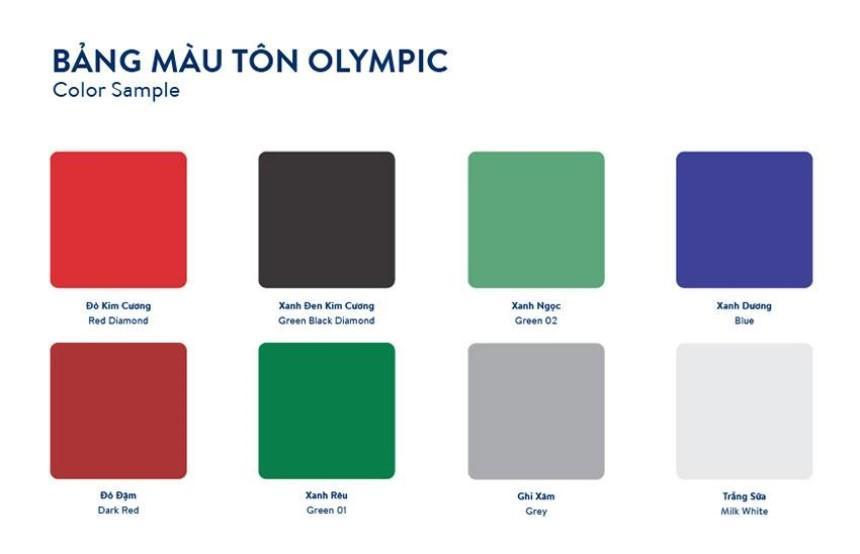 Tôn Olympic đa dạng màu sắc phù hợp với phong thủy