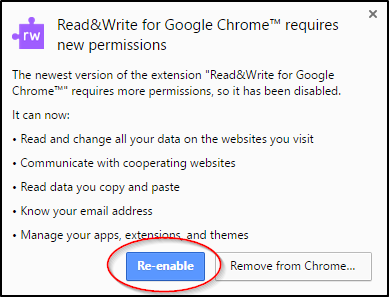 Chrome Permissions Re-enable Button