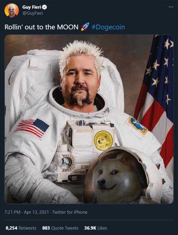 Guy Fieri tweet on doge coin