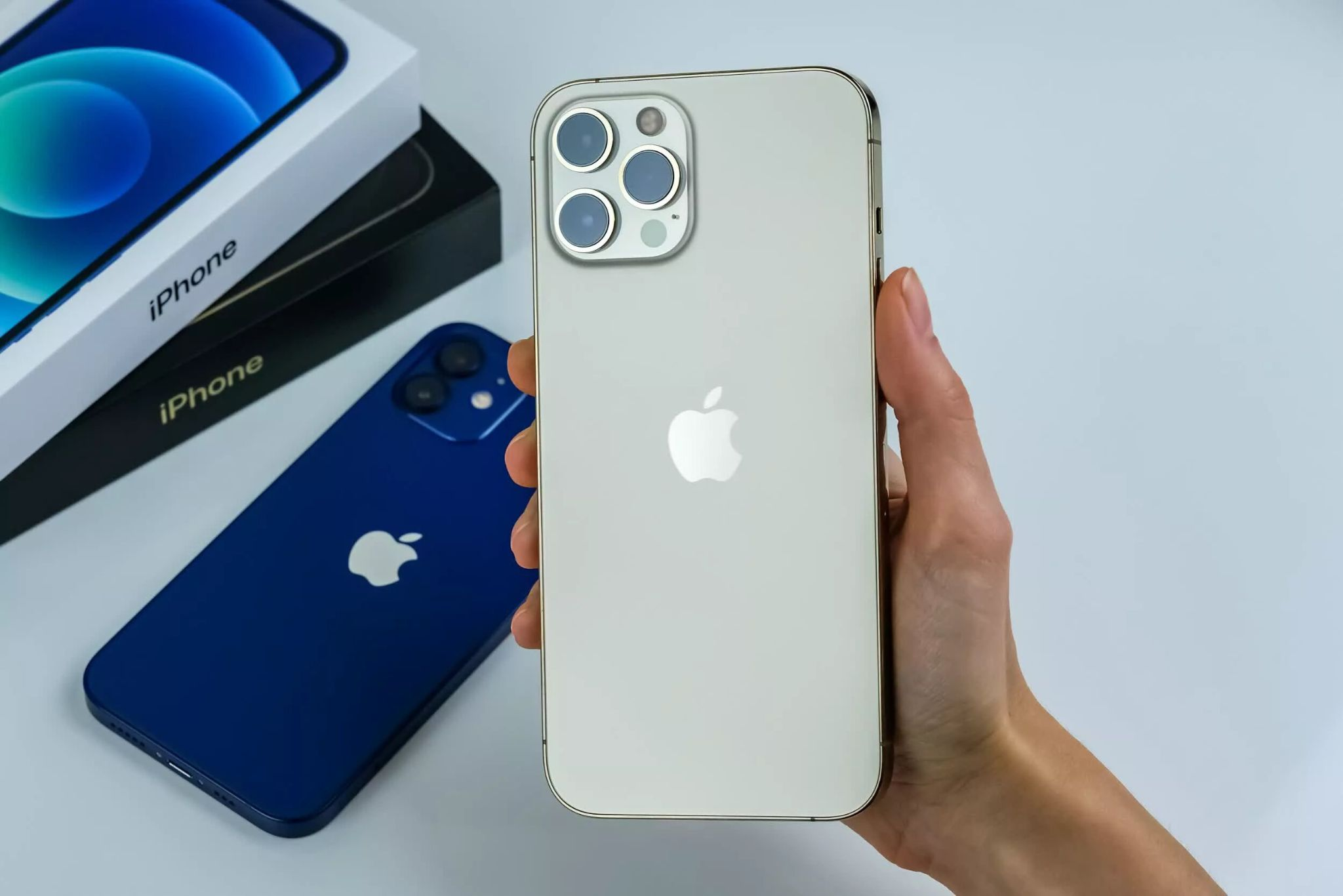iPhone 12 Pro Max in two different colors