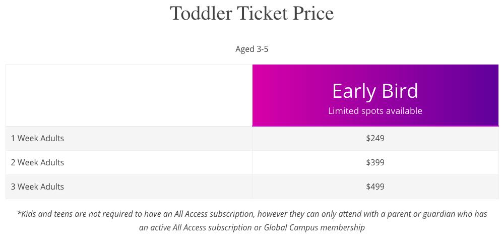 Toddler Ticket price