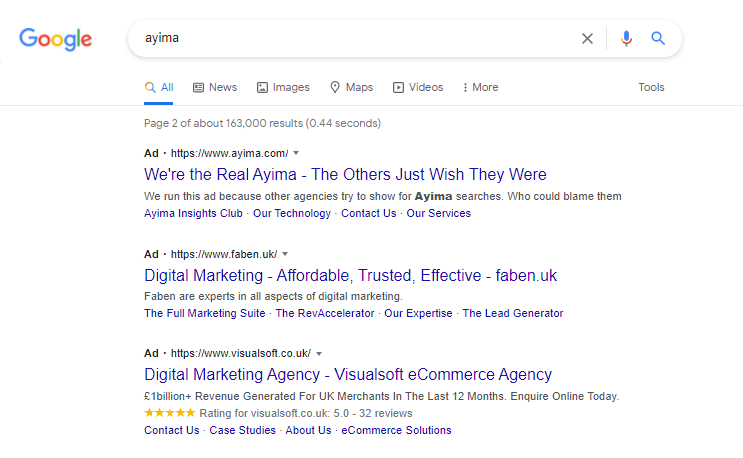 """Ayima ad above competitor ads  for Ayima brand searches, saying """"We're the real Ayima - The others just wish they were"""