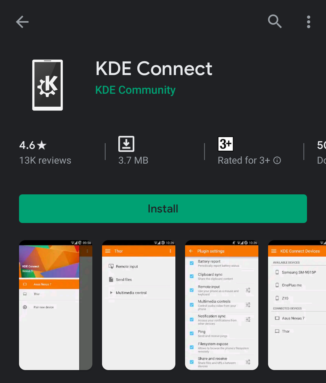KDE connect on Play store