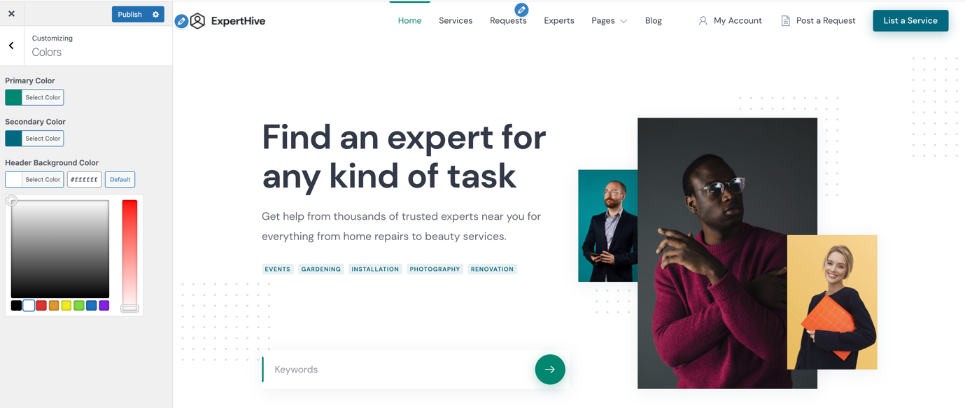 ExpertHive Review - Site customizations