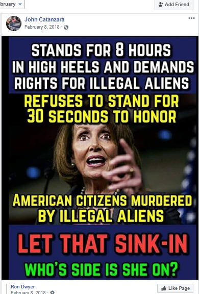 Facebook post by Catanzara with image of Nancy Pelosi
