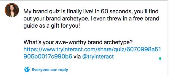 tweet about brand quiz