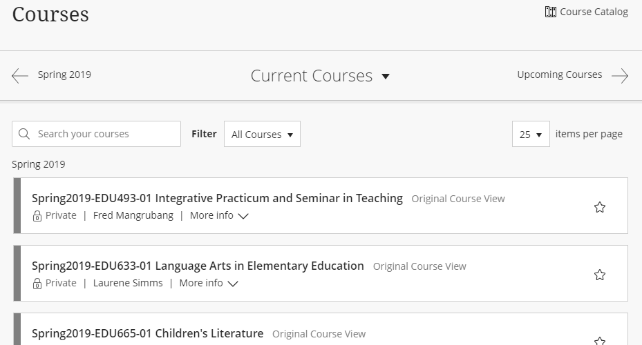 Screenshot of Blackboard course listings for the current semester and only displaying courses from Spring 2019