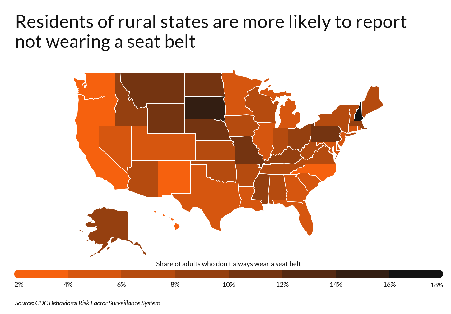 Heatmap showing U.S. states with highest reported rates of not wearing seat belts
