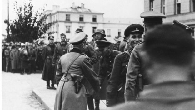 Soviet And German Generals Meeting After The Soviets Invasion Of Poland In Brest Litovsk In Russia On 1939
