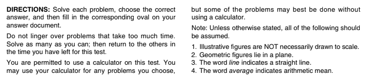 ACT Math Strategies from the Experts_Section Directions