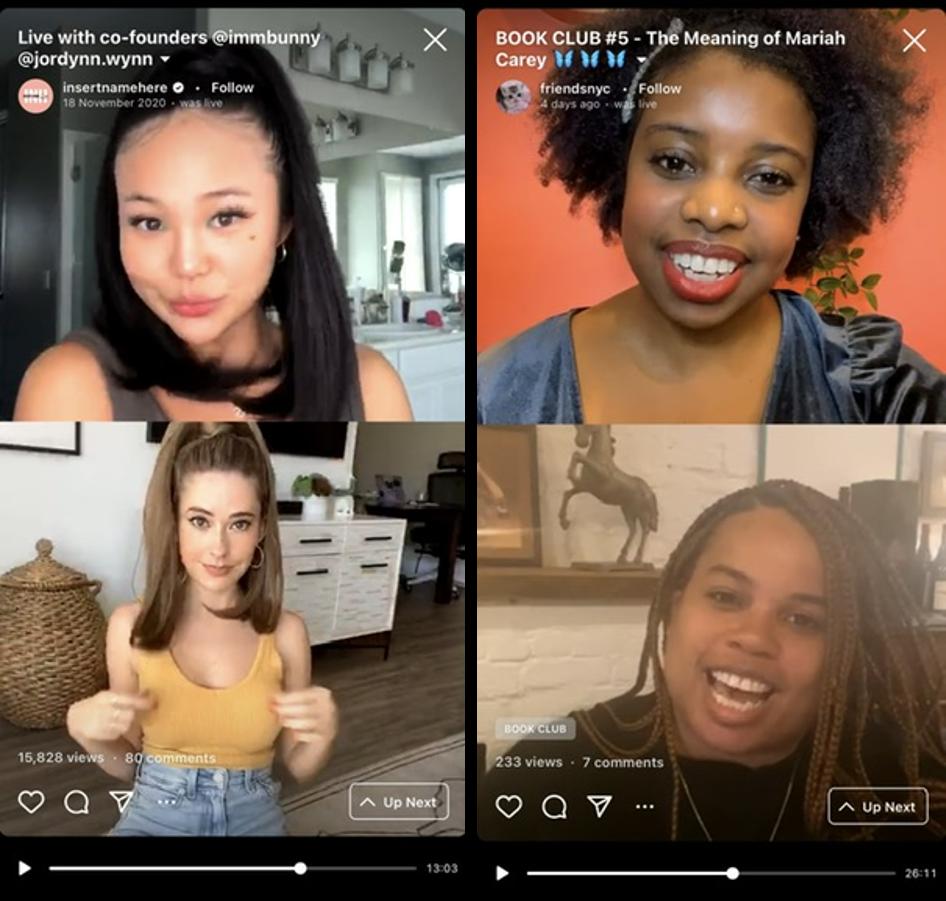 Instagram Live – relacja na żywo – zrzuty ekranu