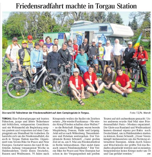 Artikel in der Torgauer Rundschau (Das Foto ist im Original sehr gut, kann hier aber nur in niedriger Auflösung angezeigt werden)