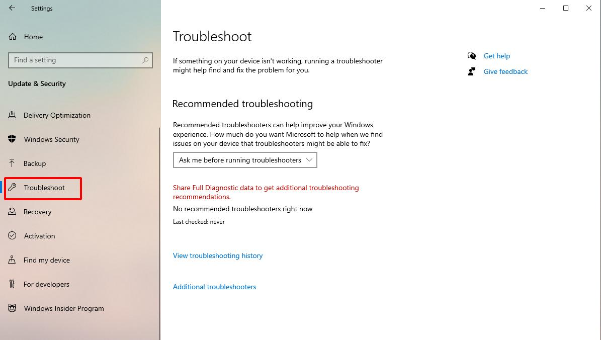 Chọn mục Troubleshoot