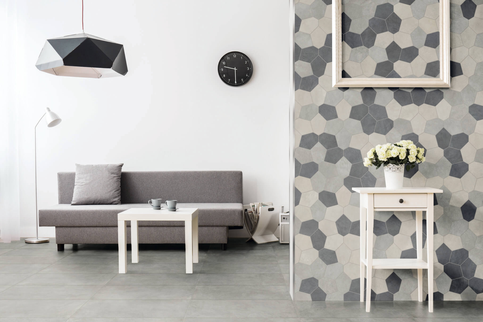 Distorted concrete-look hexagon tile wall