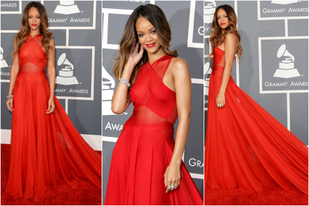 Rihanna, in Azzedine Alaia Red costume at Grammy Awards 2013