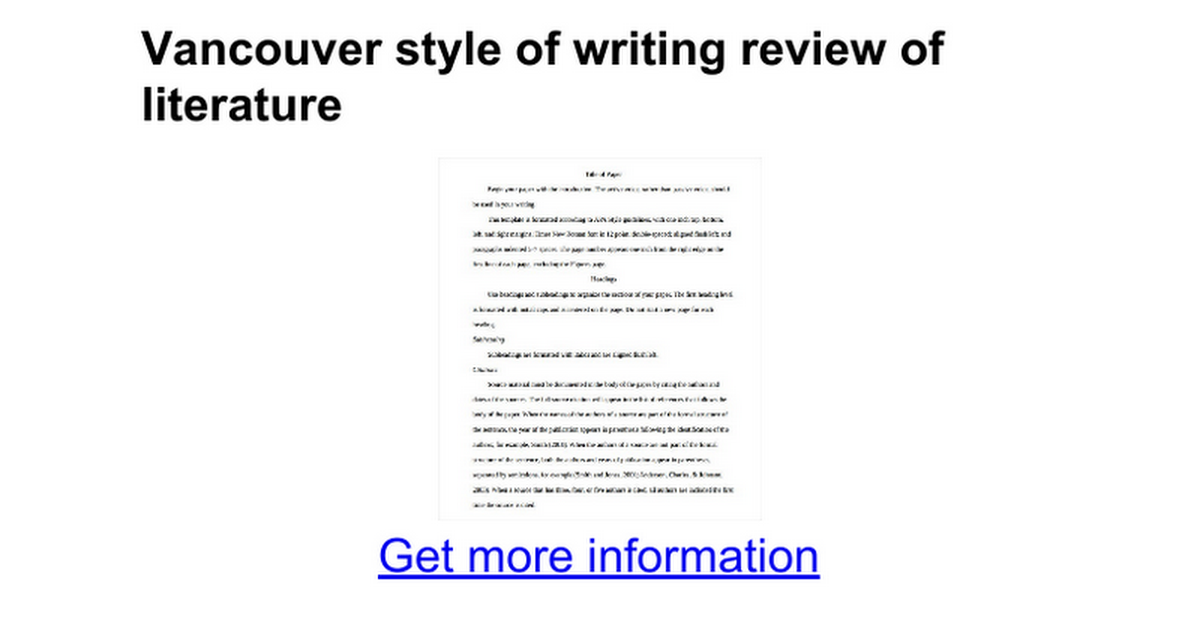 Vancouver style of writing review of literature google docs ccuart Images