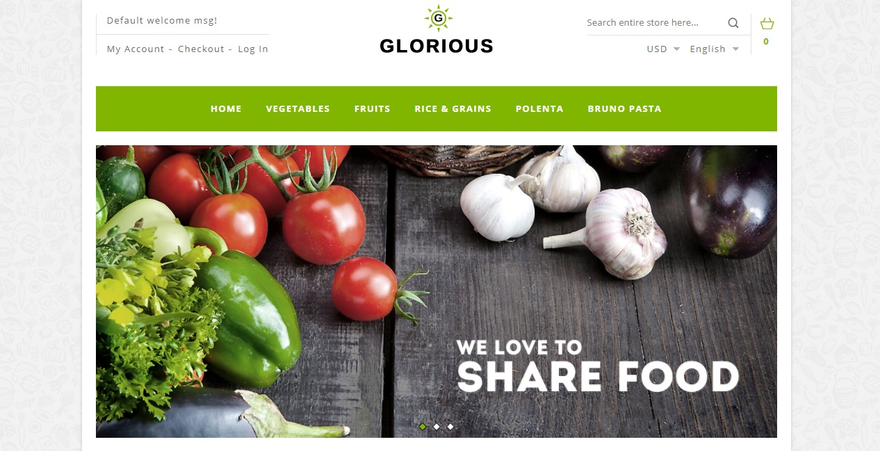 Fruits and vegetables magento theme Glorious