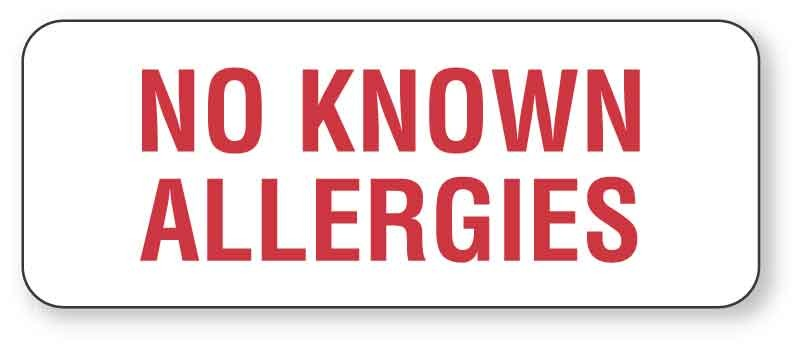 No Known Allergies Label