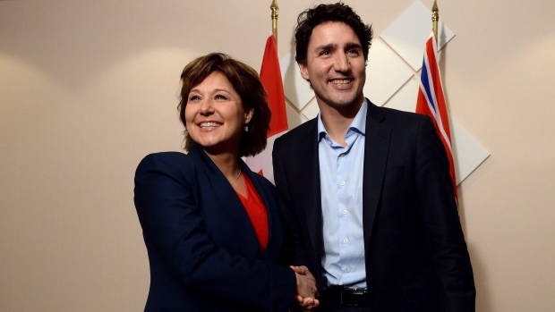 B.C. Liberal Leader Christy Clark, backed by federal Conservatives, shares some common ground with Liberal Prime Minister Justin Trudeau.