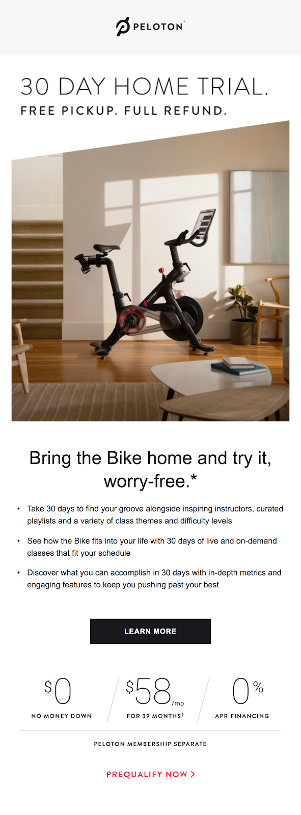 Peloton 30 day trial email