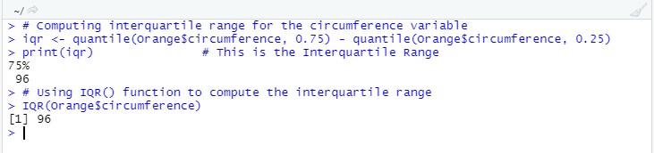 This image shows how to find out the interquartile range in R using the quantile() function and IQR() function respectively.