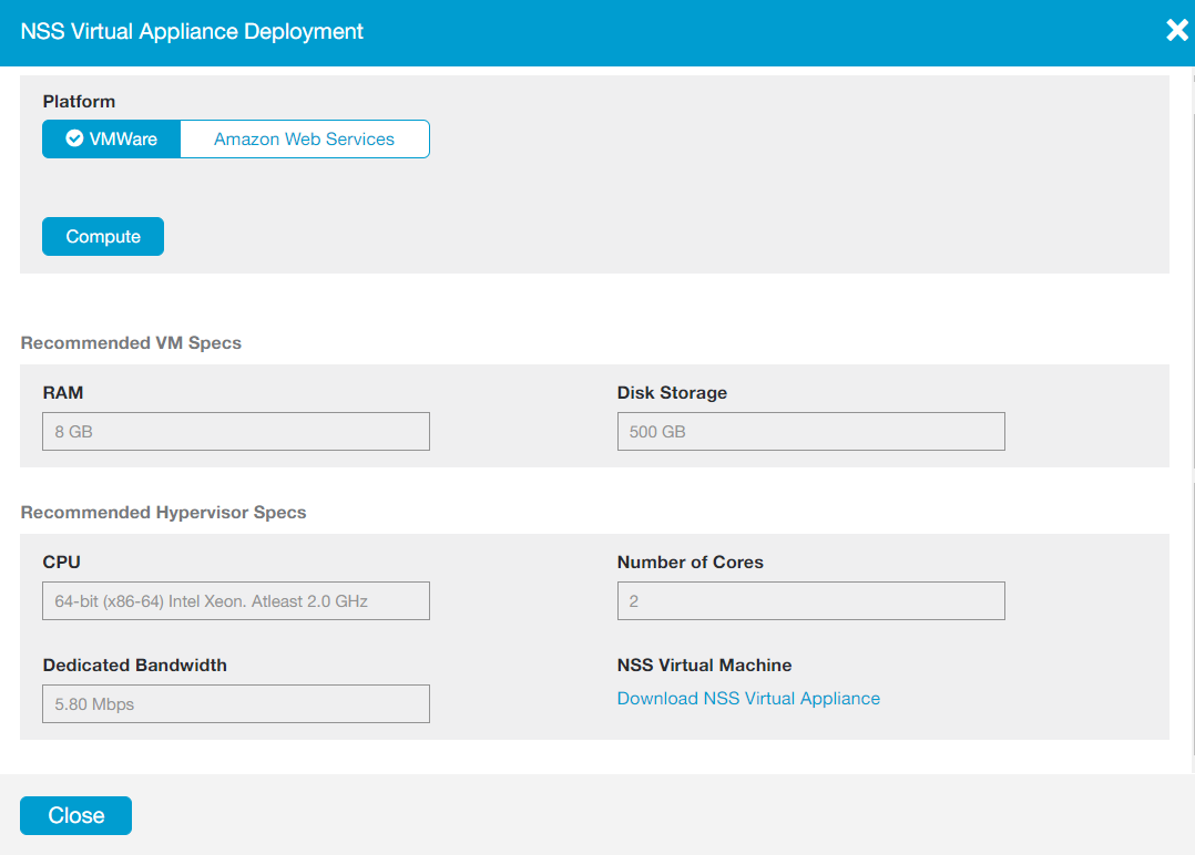 Screenshot of the NSS Virtual Appliance Deployment window with VMWare selected, and the recommended specs